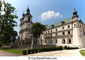 view on church an churchyard on skalka in crakow in poland -...