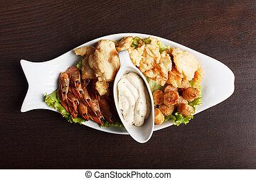 image, chaleureux, fish, collations, servi, sauce