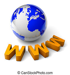 www world 3d illustration internet concept - orange www text...