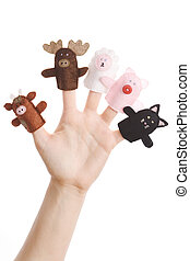 Finger puppets - Girl wearing five finger puppets (pig, cat,...