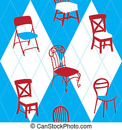 Seamless Pattern With Chairs in English Style