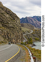 winding road in the mountains, Altai, Russia, Siberia