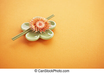 incense sticks - Incense sticks on the orange table with...