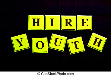 Hire Youth spelled out in colored blocks