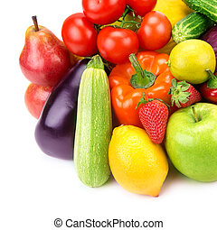Collection of vegetables and fruits isolated on white...
