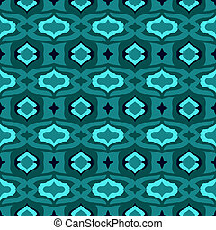 Pattern with Arabic motifs in jade and blue. - Vector...