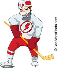 Hockey Player Isolated on White Background. Vector...