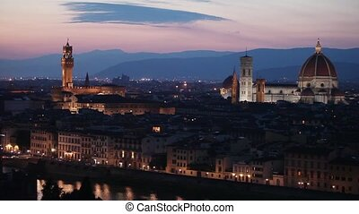 Medieval town of Florence with Duom - Florence cityscape...