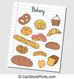 Bakery doodles - lined paper - Illustration of bakery...