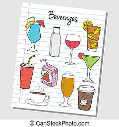Beverages doodles - lined paper - Illustration of beverages...