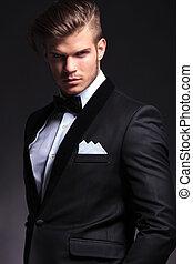 portrait of business man with bowtie - portrait of an...