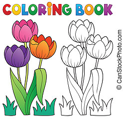 Coloring book with flower theme 4 - eps10 vector...