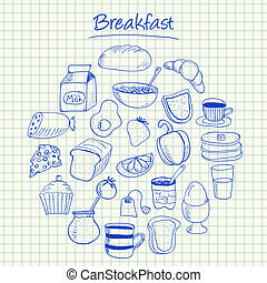 Breakfast doodles - squared paper - Illustration of...