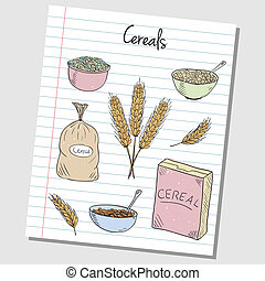 Cereals doodles - lined paper - Illustration of cereals...