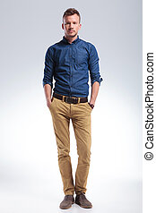 casual man stands with hands in pockets