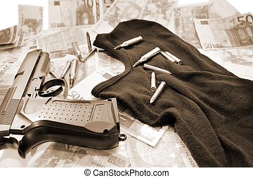 terrorist 4 - balaclava money gun and bullets showing a...