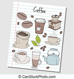 Coffee doodles - lined paper - Illustration of coffee...