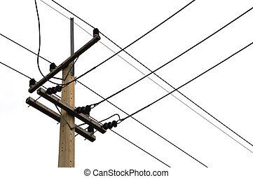 photo of an electric pole with a many cables in Thailand