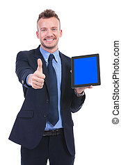 business man shows tablet and thumb up - young business man...
