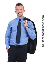 business man holds his jacket on shoulder and smiles - young...