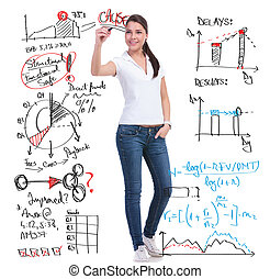 casual woman writes calculations - full length picture of a...