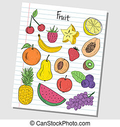 Fruit doodles - lined paper - Illustration of fruit colored...