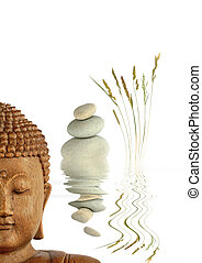 Zen Garden - Zen abstract of natural grey spa stones in...