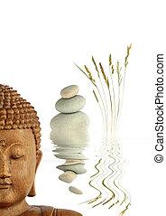 Zen Garden - Zen abstract of natural grey spa stones in...