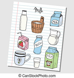 Milk doodles - lined paper - Illustration of milk colored...