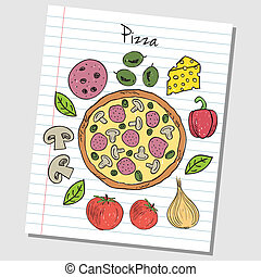 Pizza doodles - lined paper - Illustration of pizza colored...