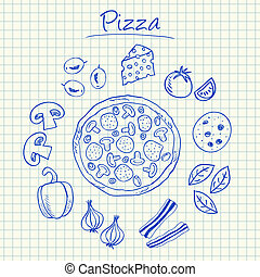 Pizza doodles - squared paper - Illustration of pizza ink...