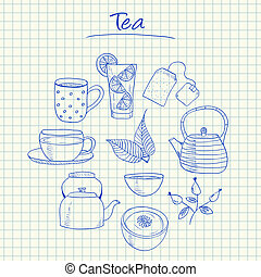 Tea doodles - squared paper - Illustration of tea ink...