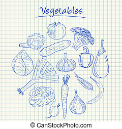 Vegetables doodles - squared paper - Illustration of...