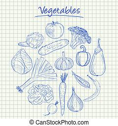 Vegetables doodles - squared paper - Illustration of...