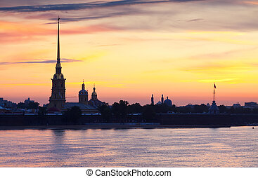 Peter and Paul Fortress in summer morning - View of St...