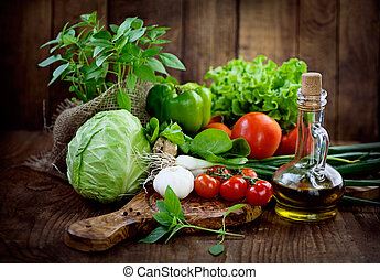 Fresh organic vegetables - Fresh ingredients for cooking in...