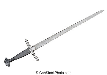 medieval sword - fighting weapon of middle ages - isolated...