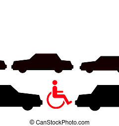 disabled in traffic - red wheelchair on road inbetween black...