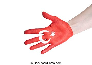 turkish flag - the turkish flag painted on a hand
