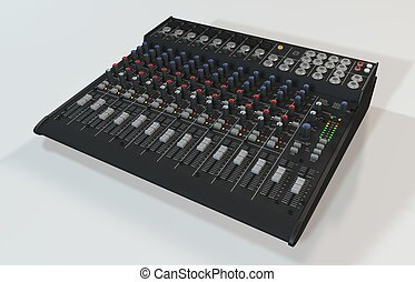 Audio Mixer - Illustration of the 3D rendered Audio Mixer