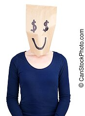 a happy dollar sign paper bag - a person with a happy dollar...