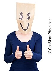 a happy dollar sign - a person with a happy dollar sign...