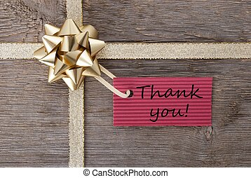 thank you on a gift label - thank you on a red label on a...