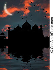 islamic mosque at sunset in water ripples