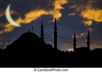 islamic mosque at sunset