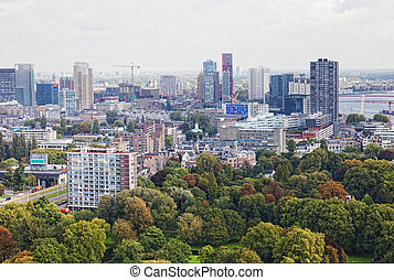 Arial panorama of Rotterdam, Holland