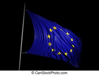 European Union flag on black background