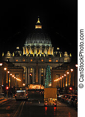 St Peters Basilica - Night shot of saint peter church, in...