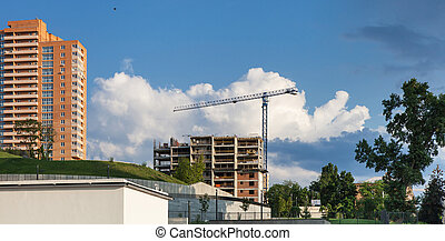 Construction site with crane