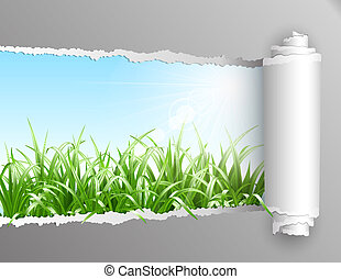 Torn paper with grass background. - The window in the...